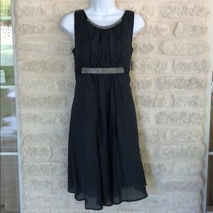 NWT Esley navy silk rhinestone tank party dress M
